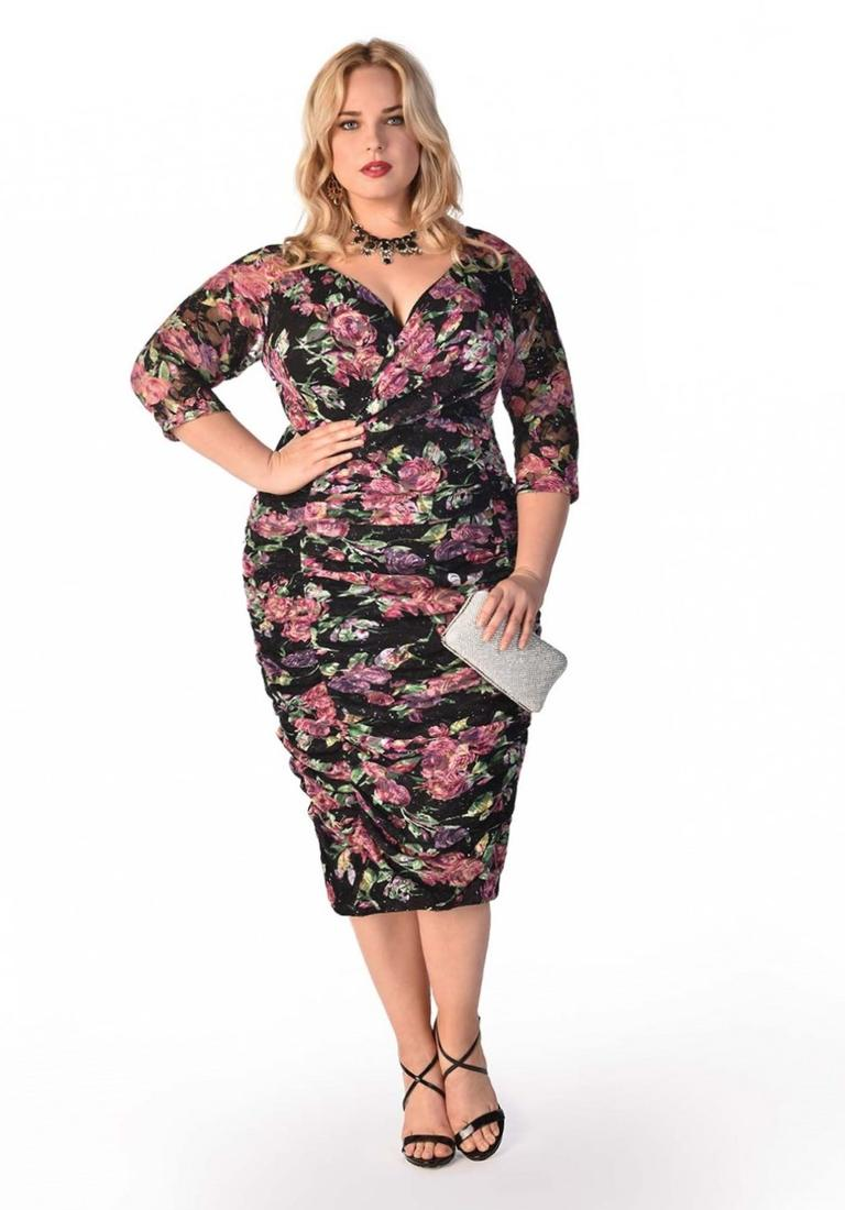 Phillippa Plus Size Dress in Floral Print - Plus Size Evening and Cocktail Dresses by IGIGI