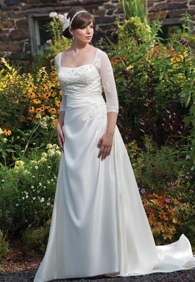 c77d039fde3bc Plus Size Tea Length Wedding Dresses With Sleeves - Wedding Dresses ...