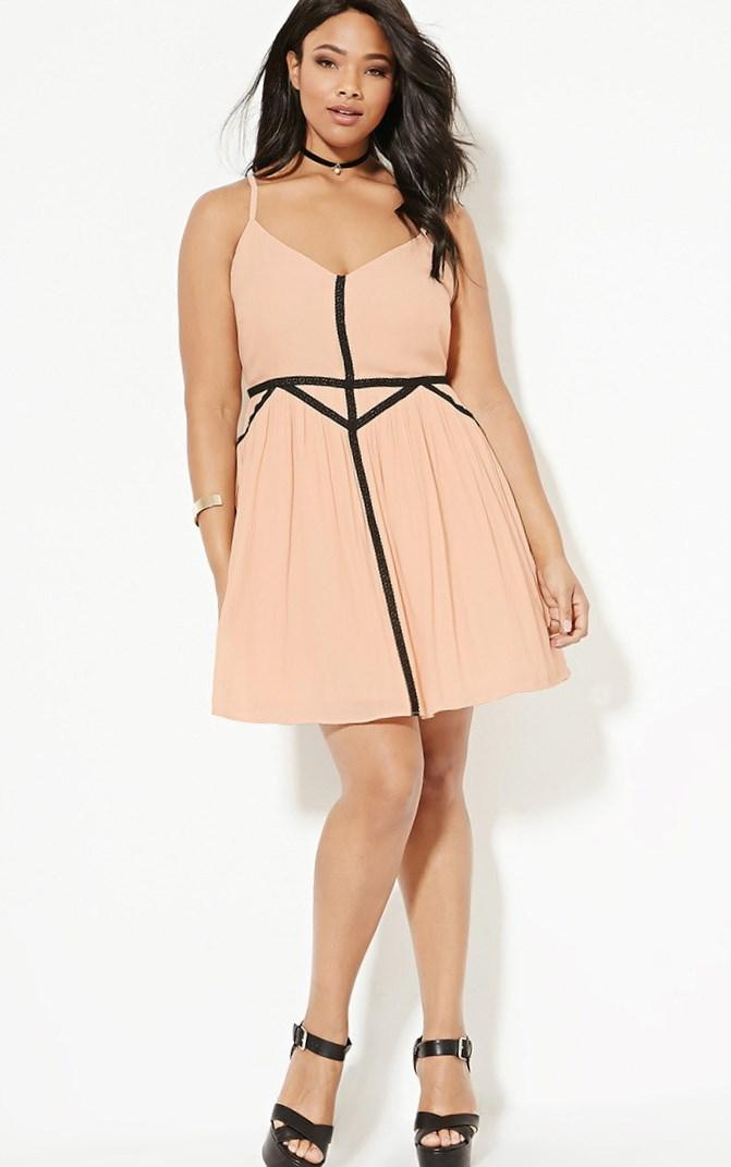 Peach and Black Cami Dress