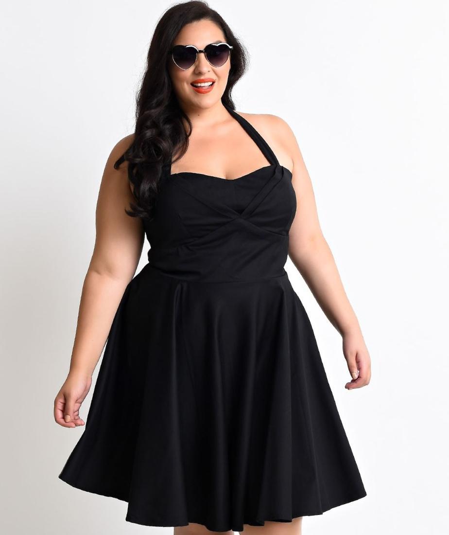 Black halter dress plus size - PlusLook.eu Collection