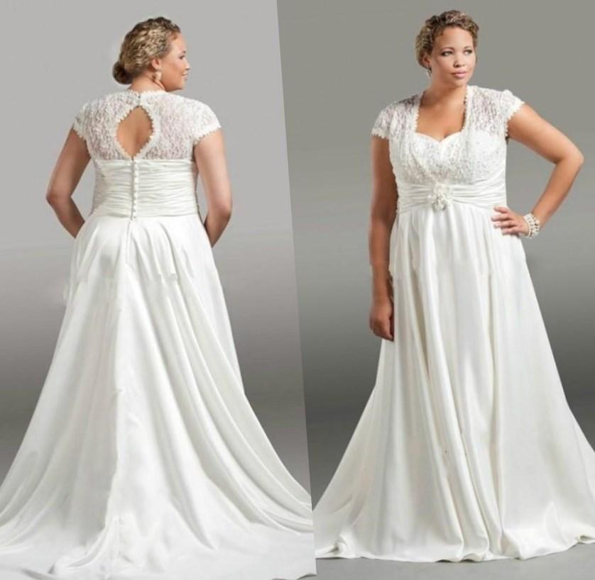 Plus Size Wedding Dresses With 3/4 Sleeves Modest Wedding Dresses With