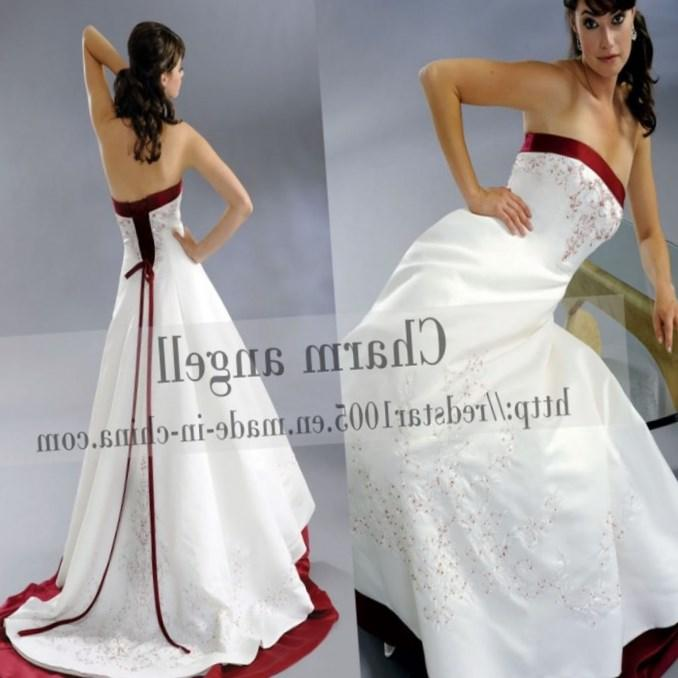 Red and white plus size wedding dresses pluslook collection cheap red and white scoop color flowers wedding dress mightylinksfo