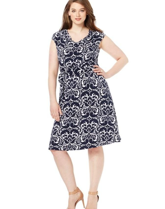 Inc international concepts Plus Size Feather-Print T-Shirt Dress in White (White/Black) | Lyst