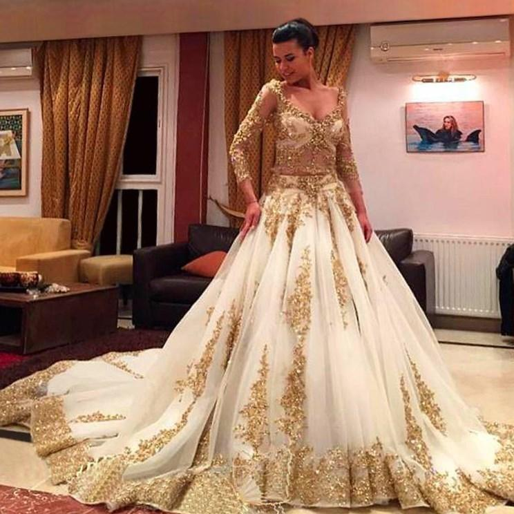 Gold wedding dresses plus size pluslookeu collection for Champagne gold wedding dress