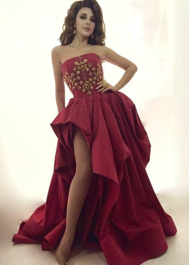 2017 Sexy High Low Prom Dresses Plus Size Strapless A-line Beaded Sweep Train Long Formal Party Dresses Arabic Myriam Fares Formal Gowns