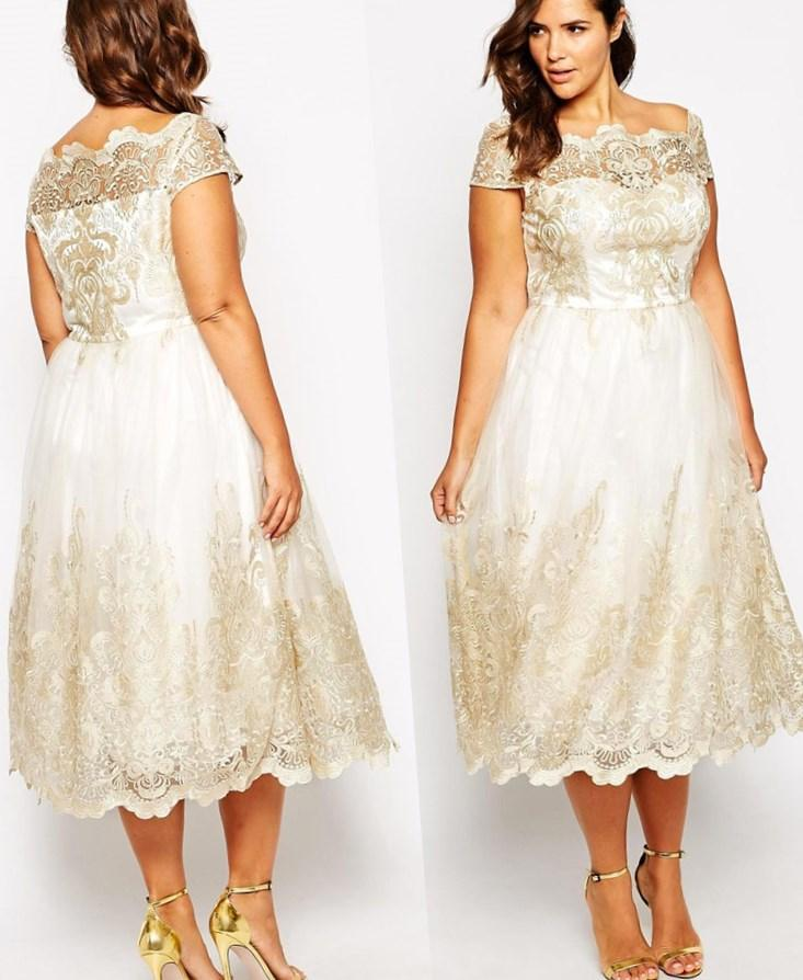 Plus size wedding dress tea length collection for Plus size wedding dresses with color and sleeves