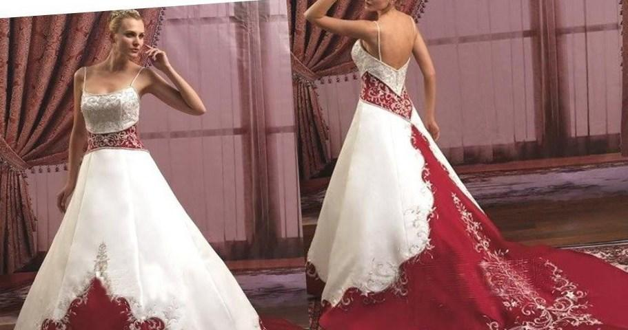 Red Wedding Dress with Sash_Wedding Dresses_dressesss