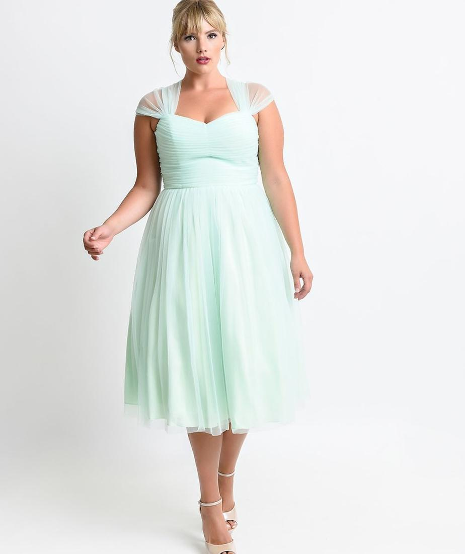 Wholesale Plus Size Mint Floral Lace Dress with Flyaway Sleeves. prev