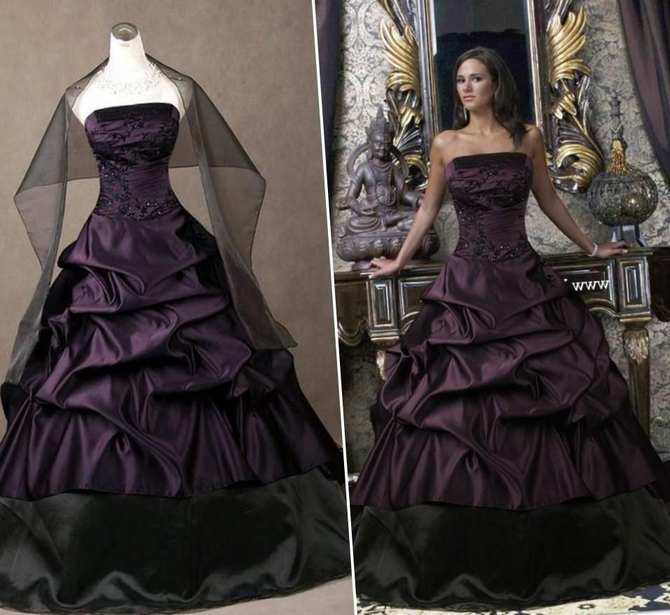 Free Shipping Purple Wedding Dress 2017 Luxury Crystal Bridal Gown Ruffles Plus Size Ballgown