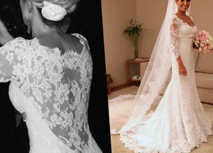Vestido De Noiva Plus Size Wedding Dresses Large Size Women Bride Dresses With Long Sleeves See
