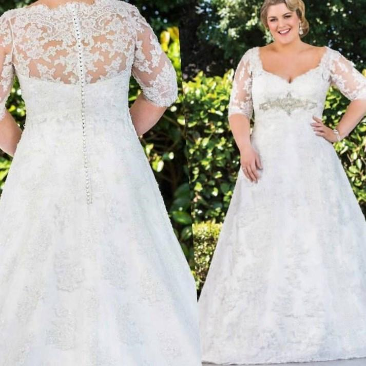 2017 Plus Size Wedding Dresses High Quality Sheer Top Lace White 46