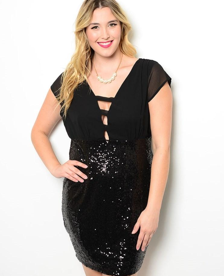 Designer Plus Size Black Sequin 3/4 Sleeve V-Front Dress