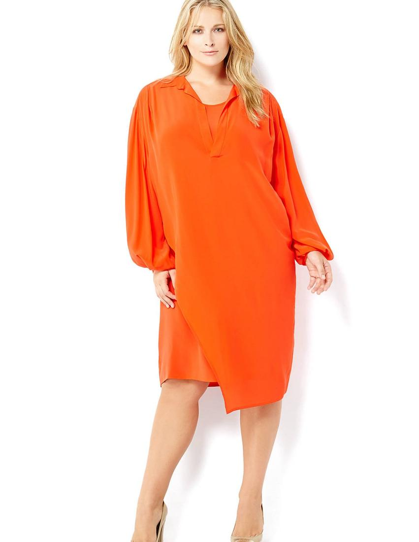 MARINA RINALDI Plus Size Orange Bishop Sleeve Dress
