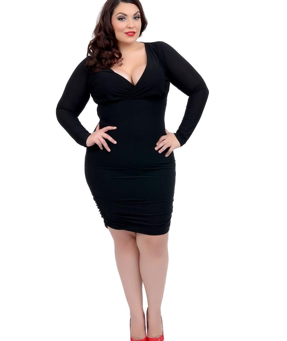 Plus size white long sleeve dress - PlusLook.eu Collection
