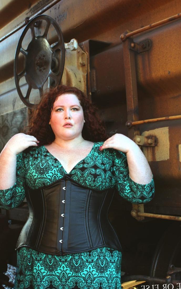 Plus size long leather corset dress
