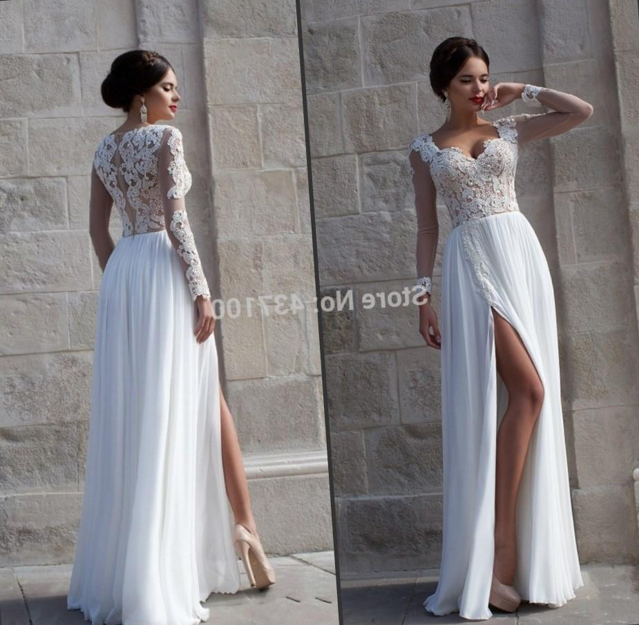 Plus size white long sleeve dress collection for Long sleeve casual wedding dresses