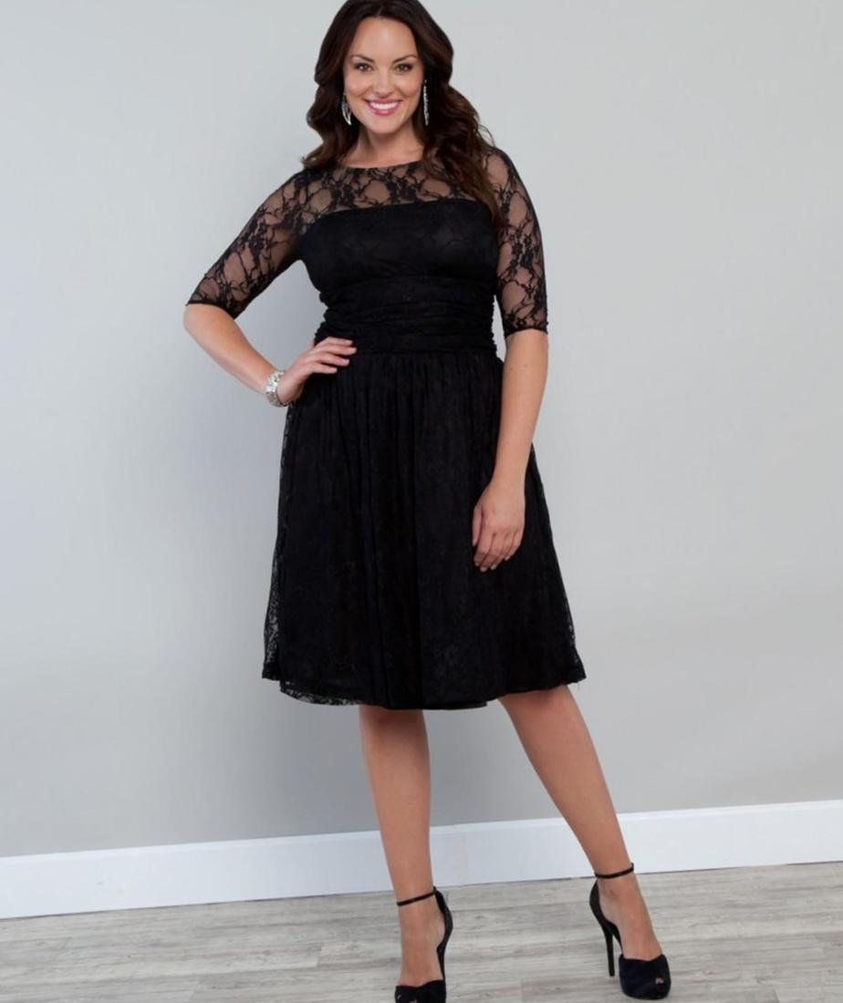 Kiyonna Luna Lace Dress IGIGI Melina Plus Size Dress in Charcoal Gold