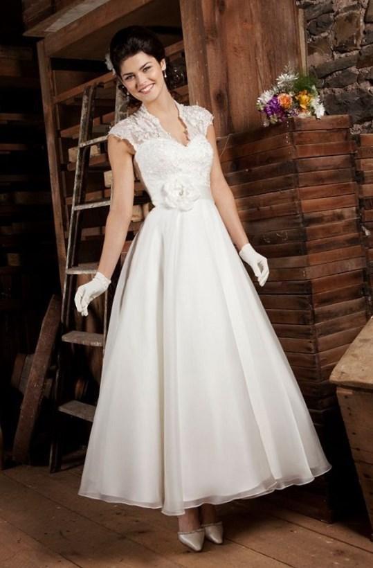 Vintage Tea Length Wedding Dresses Plus Size 50