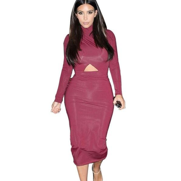 Sexy Bandage Dress Plus Size M L 2016 Spring New Women Sexy Long Sleeve Dress Knee Length
