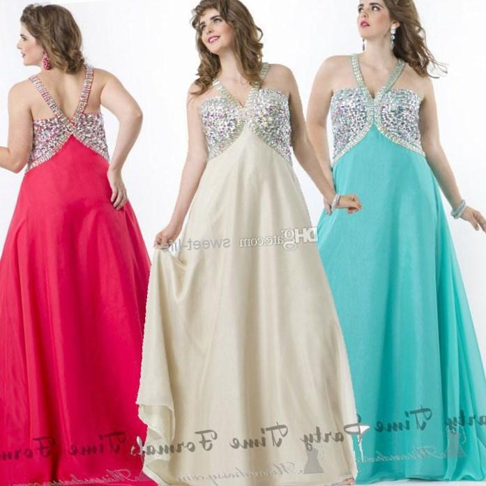 Buy High Neck Plus Size Prom Dress at PromGirl