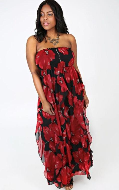 Red, Black  White Rose Print Hanky Hem Bandeau Dress