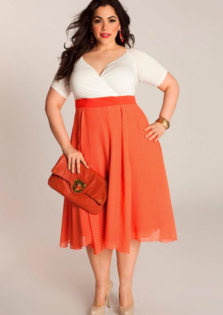 Orange dresses for plus size women