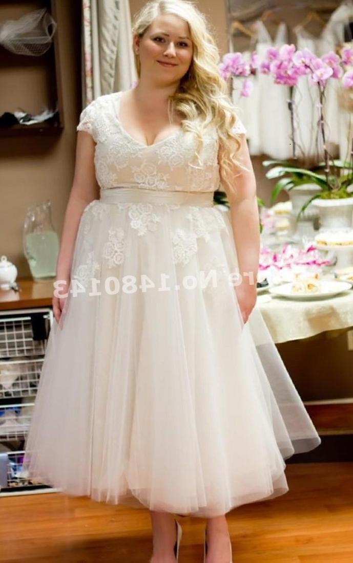 Vintage Tea Length Plus Size Wedding Dresses_Plus Size ...