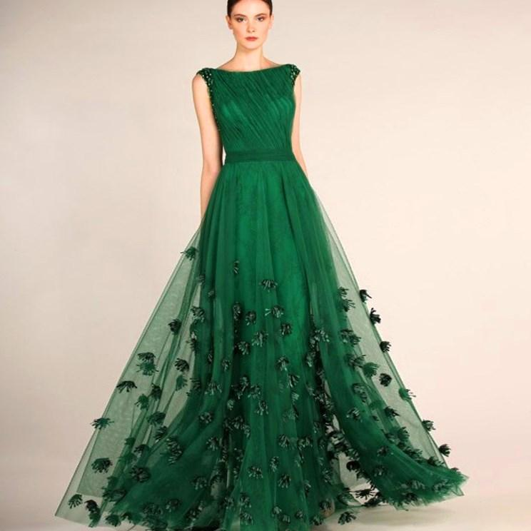 buy Custom Made Evening Dresses For Plus Size Women Prom Long Dresses Night Applique Tulle Emerald Green Prom Dress To The Floor