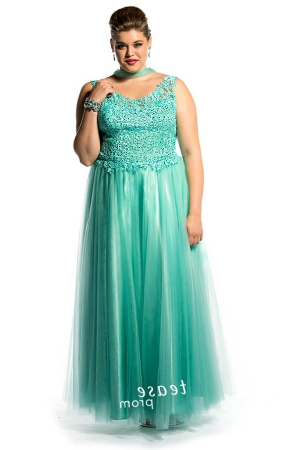 Plus Size Formal Lace Dress Elegant Long Mint Green Prom Dresses for Party School Ball 2017