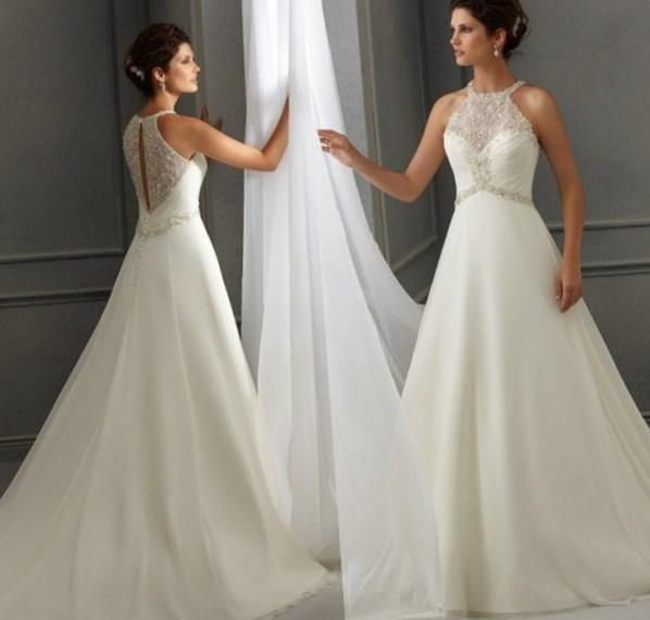 Halter Plus Size Chiffon A-Line Sweep Train Beading Wedding Dress With Lace