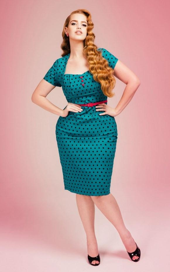 The Vamp Dress in Red with Black Dots - Plus Size  Zoom