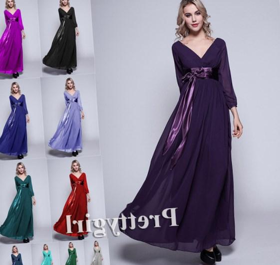 Purple Maxi Dresses Sequins Top Empire Flow Chiffon Ankle Length Plus Size Prom Dresses Evening Gowns