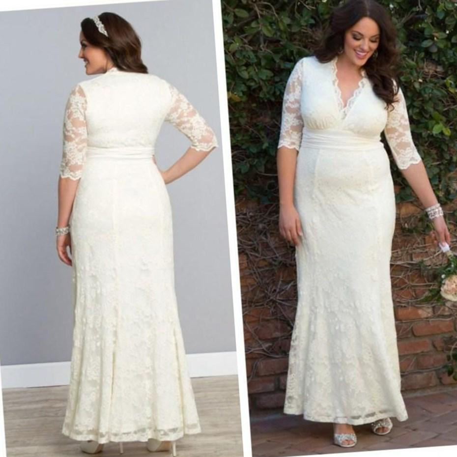 Plus Size Wedding Dress with Long Lace Sleeves