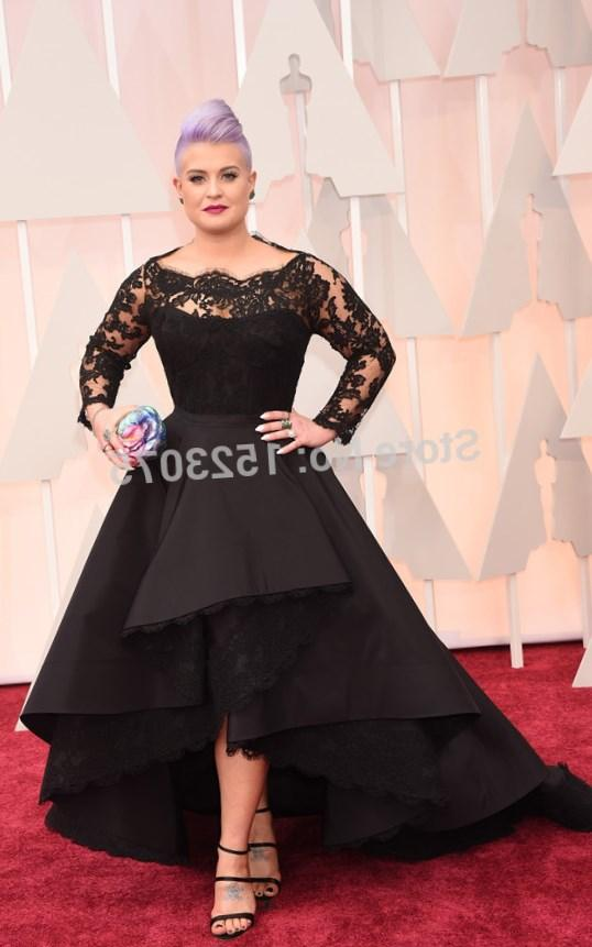 Black Lace 2017 Oscar Osbourne Plus Size Long Sleeve Prom Dresses Sheer Long Sleeves High Low