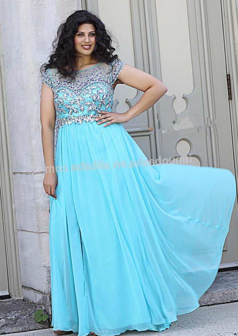2017 New Arrival Light Blue Hater Long Plus Size Bridesmaid Dresses Chiffon Beaded Backless Fashion A
