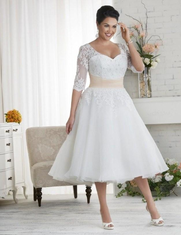 1523 Unforgettable by Bonny Bridal - Organza tea length, plus size wedding gown with sheer