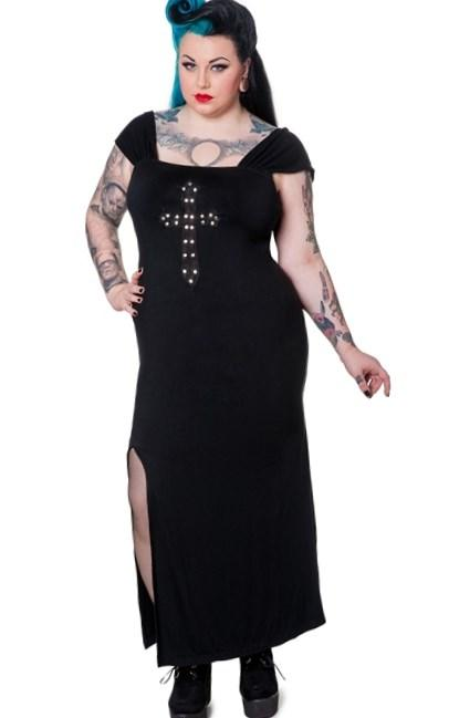 Spin Doctor Plus Size Long Black Gothic Crucifix Dress