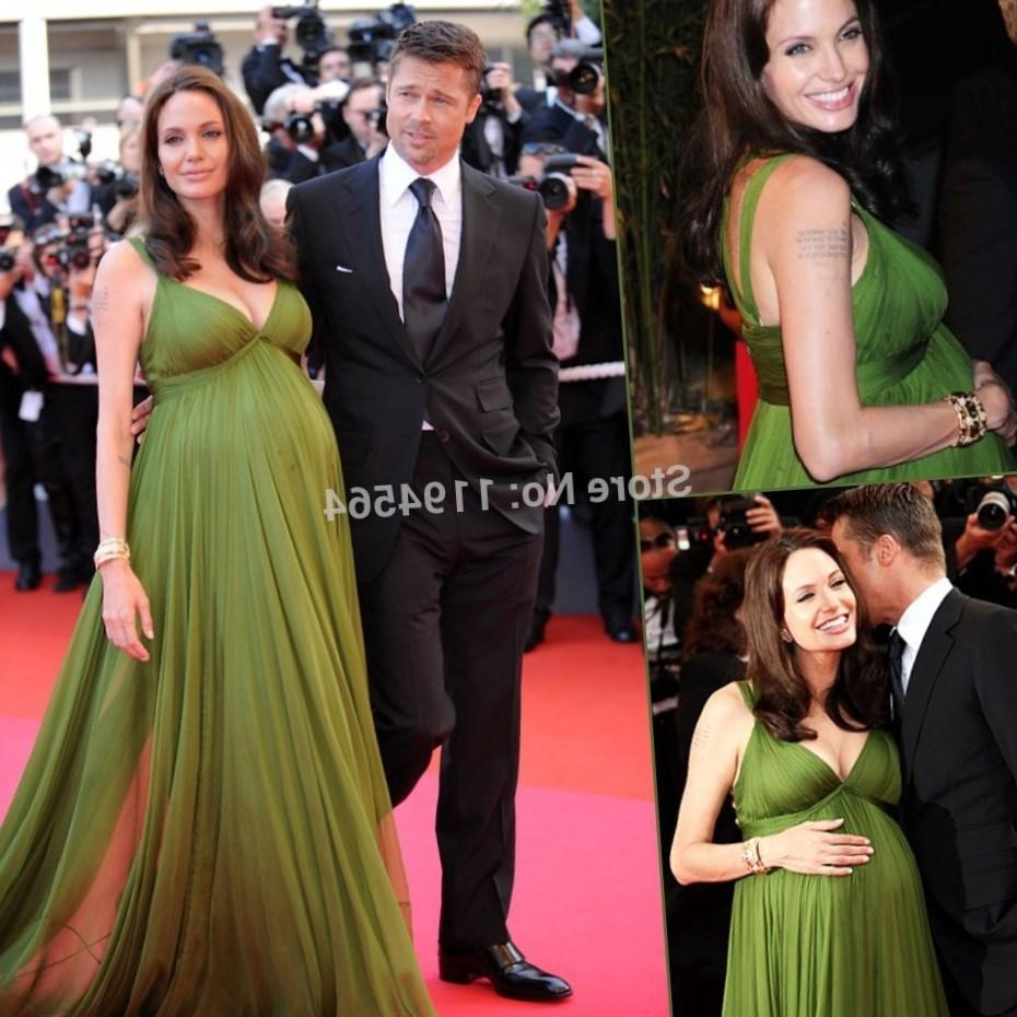 Plus size red carpet dresses pluslook collection elegant spaghetti strap chiffon ruched green angelina jolie red carpet dresses plus size maternity celebrity evening ombrellifo Choice Image