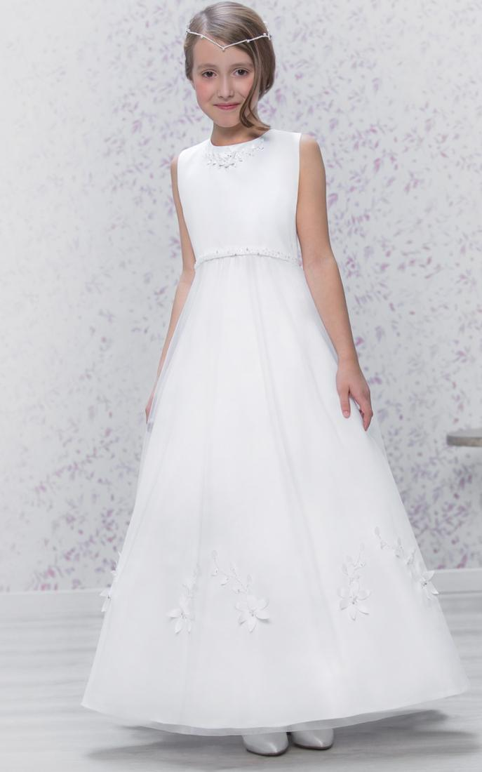 Beaded dress with satin bodice with organza skirt
