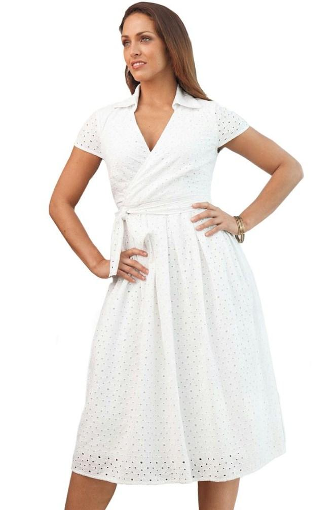 Plus Size White Eyelet Dress Pluslook Collection