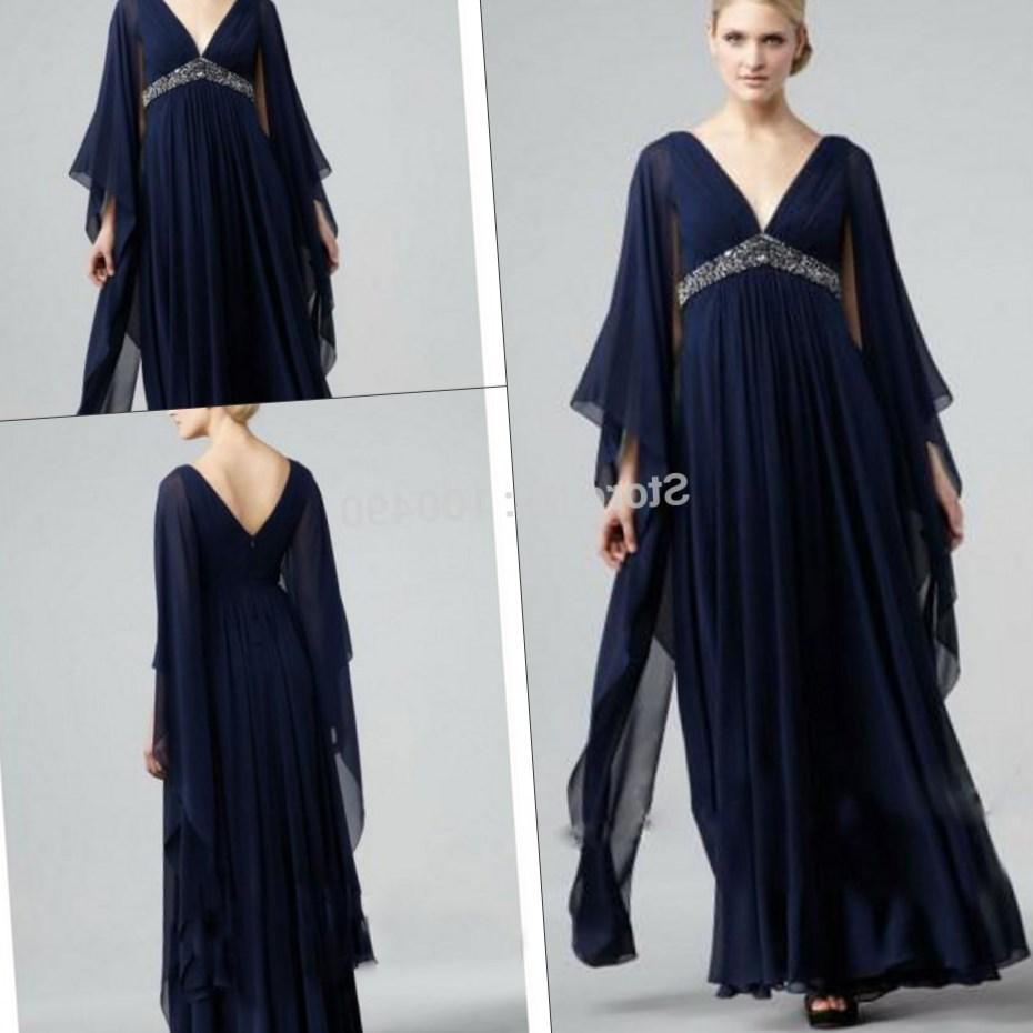 Dark blue Plus size Muslim Long sleeves maxi formal gown with beads and crystals maternity prom