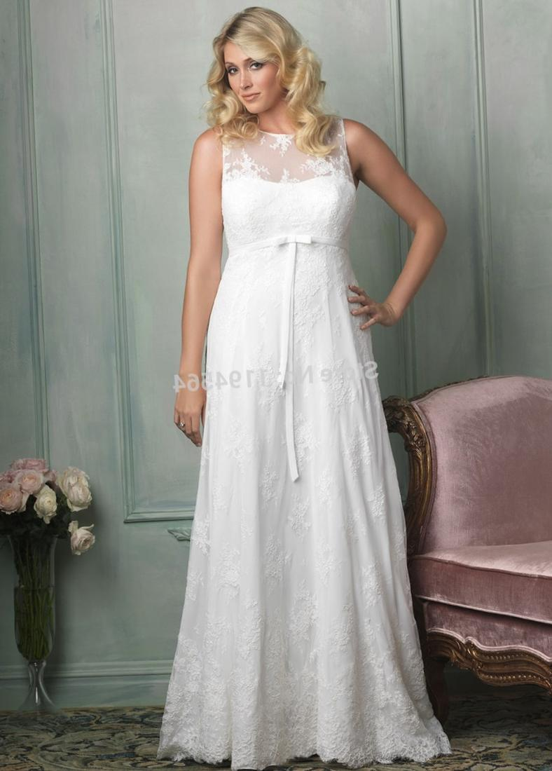Modest Satin Plus Size Wedding Gown with Lace PS146