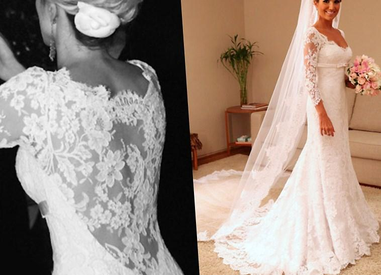 Vintage Wedding Gowns Plus Size Zipper Closed Lace Wedding Dress With 3/4 Sleeves Sweep