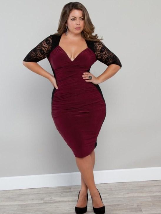 Plus size black lace club dresses