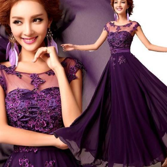 Flowing Purple Prom dresses Plus Size One shoulder evening dresses with high slit chiffon Mermaid formal