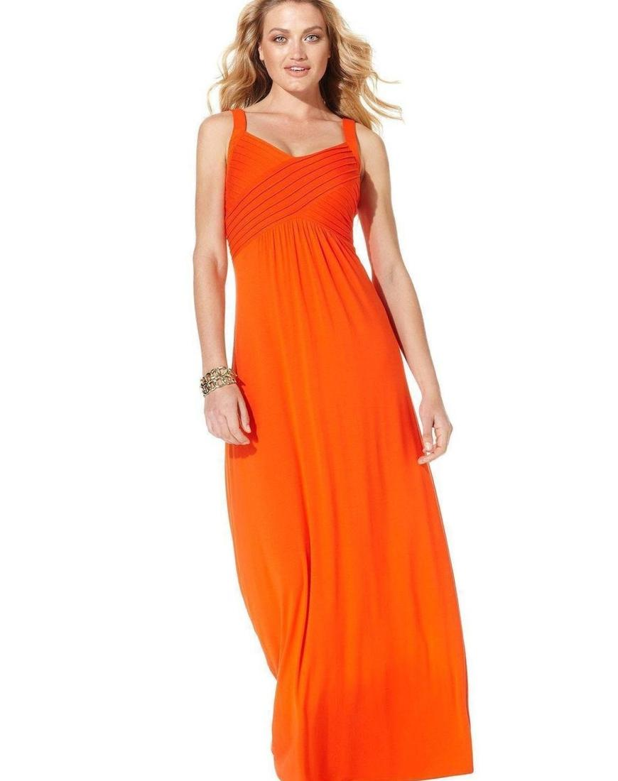 Plus Size Terracotta Orange Jersey Tank Dress Front View