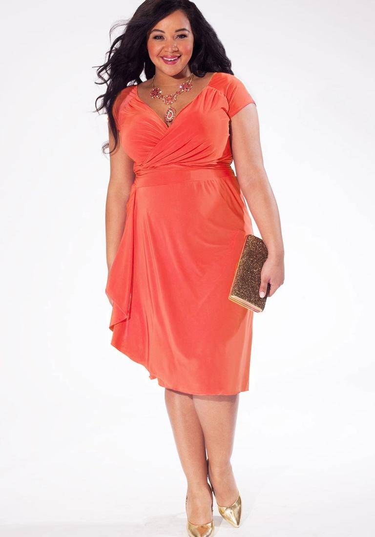 Plus size dresses with sleeves in coral color