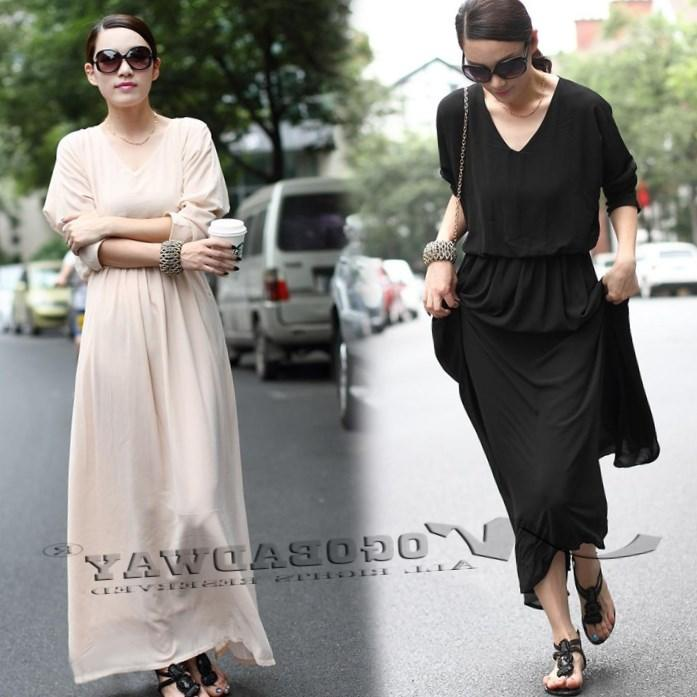 Summer Dress 2018 Plus Size Women Clothing Casual Maxi Dress Bohemia Long Sleeve Pleated Novelty Floor