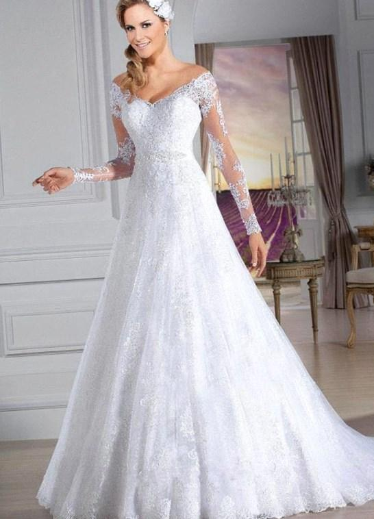 Casamento Romantic White Lace Plus Size Wedding Dress 2018 Charming Neck Long Sleeve Wedding Gowns Vestido