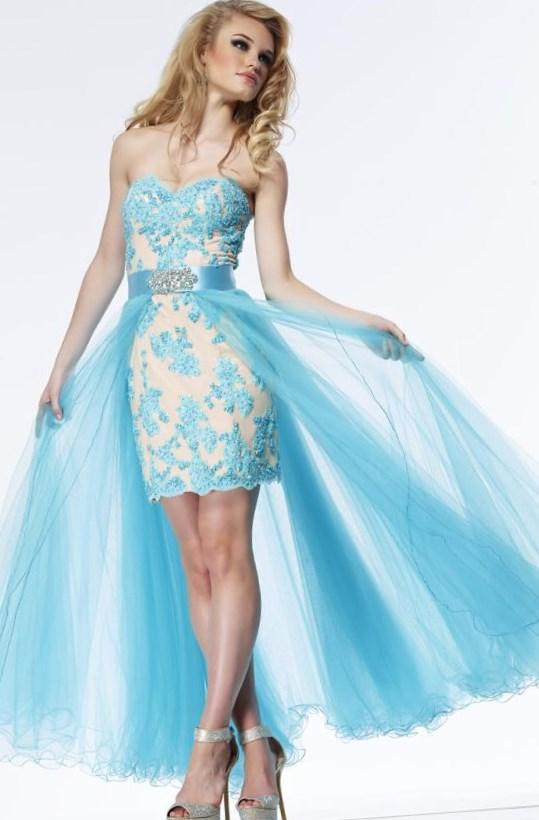 Blue High Low Formal Dress/ Plus Size Prom Dress Homecoming Dress Riva R9751